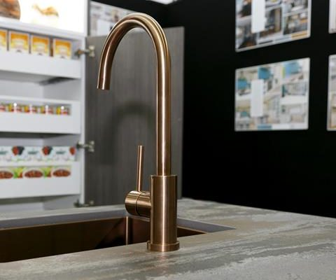 Aurora Copper Sink and tap angled - Mercer sinks